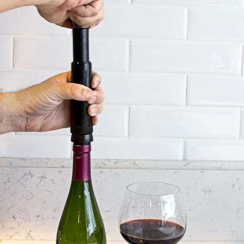 bomba de vácuo para vinhos com marcador de data - prana