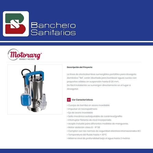 bomba desagote agua sucia motorarg 1/2 hp sm inox 400