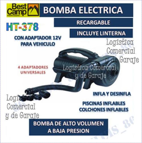 bomba electrica inflar 12v / 110v / recargable / linterna