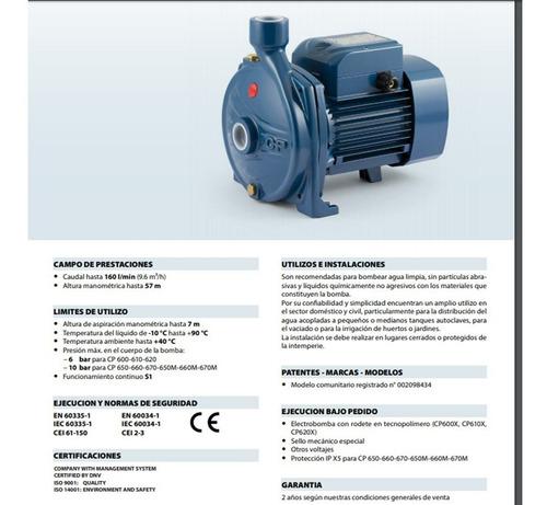bomba electrica pedrollo cpm 620 1hp 35mts 100litros/min