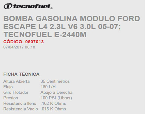bomba gasolina  ford escape 2005-2007
