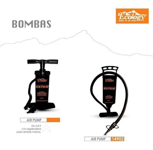 bomba inflador aire manual doble acción p/colchones ecology