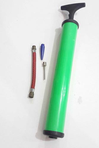bomba inflador manual para balones 30cm con aguja incluida