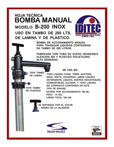 bomba manual extractora b-200 inox uso en tambo de 200 lts.
