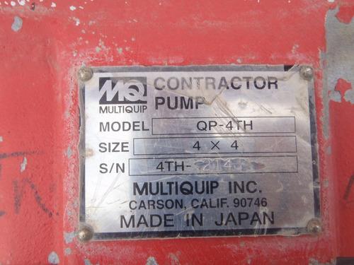 bomba para agua de 4 pul. a gasolina motor honda multiquip