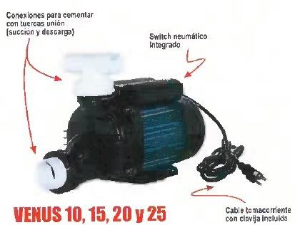 bomba para hidromasaje 1.0 hp venus 115v 0.75kw