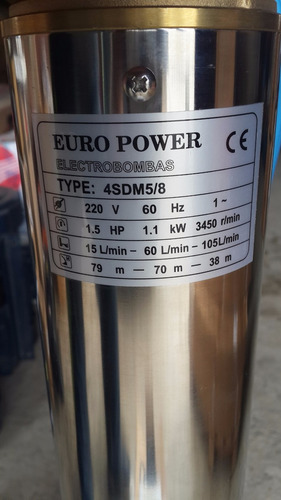 bomba para pozo profundo, 1,5 hp, europower, monofasica.