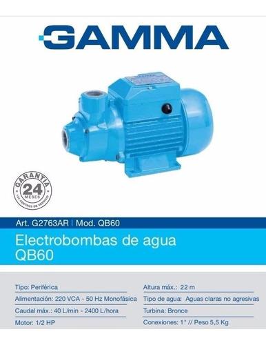 bomba periferica agua gamma qb 60 1/2hp turbina bronca elevadora 20 mts 40lts/min