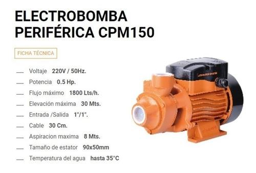 bomba periferica elevadora 0.50 1/2 bobinado cobre lusqtoff