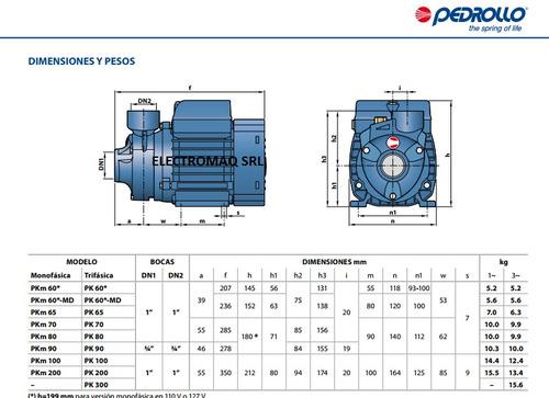 bomba periferica pedrollo pk 70 0,8 hp trifásica 65 mts.