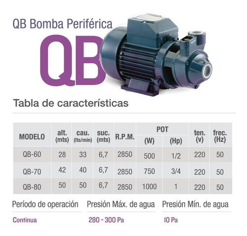 bomba periferica - qb 60-1/2 hp pluvius + envío gratis