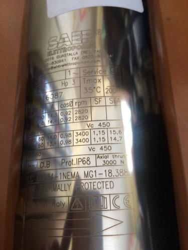 bomba pozo profundo saer 3 hp, 230 vlts, monofasica italy .