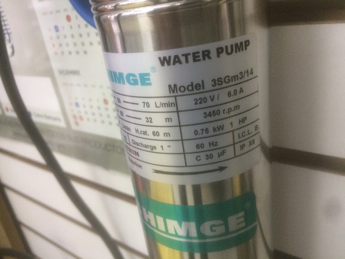 bomba pozo profundo shimge 1 hp, 220 volt. ph1. 3  pulgadas.