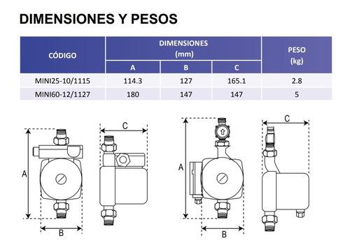 bomba presurizadora agua para calentador 1/3 hp mini smart