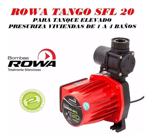 bomba presurizadora rowa tango sfl 20 mayor presion y caudal para 4 baños / duchas + cocina + lavadero p/ tanque elevado