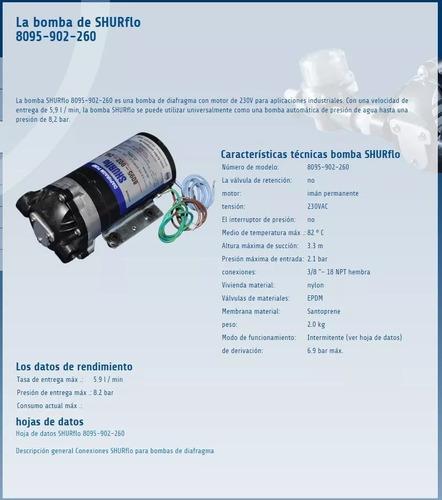 bomba shurflo diafragma 220v. 8095-902-260 u.s.a.
