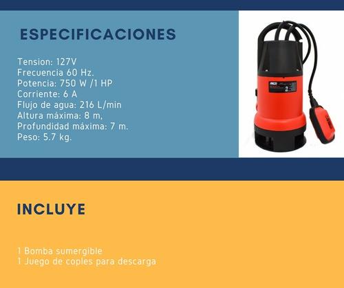 bomba sumergible 1 hp aguas sucias hasta 8 metros 216 lt/min