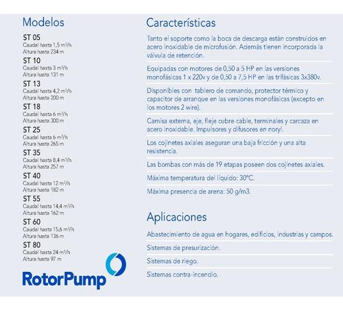 bomba sumergible 1,5hp trif. st 2512 rotor pump