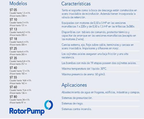 bomba sumergible 1hp monof. st 0526 rotor pump