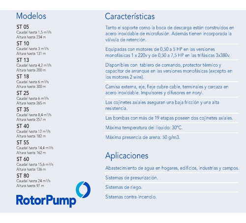 bomba sumergible 1hp trif. st 3507 rotor pump