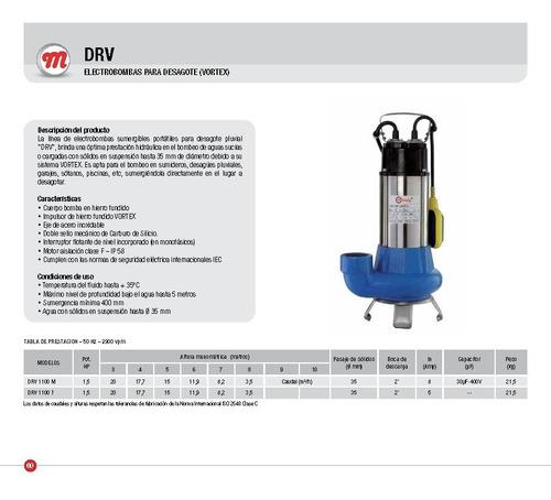 bomba sumergible de desagote motorarg drv1100m 1,5hp 220v