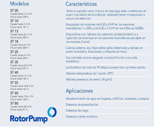 bomba sumergible franklin rotor pump 1,5hp trif. st5507