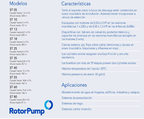 bomba sumergible franklin rotor pump 1hp trif. st1311
