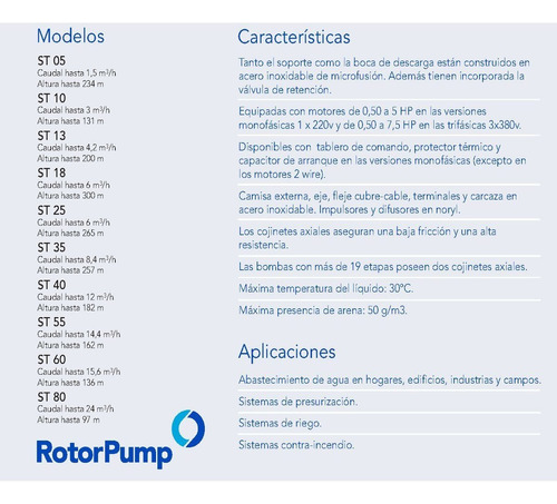 bomba sumergible franklin rotor pump 1hp trif. st1809