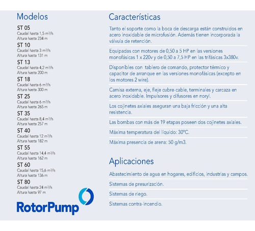 bomba sumergible franklin rotor pump 3hp trif. st1827