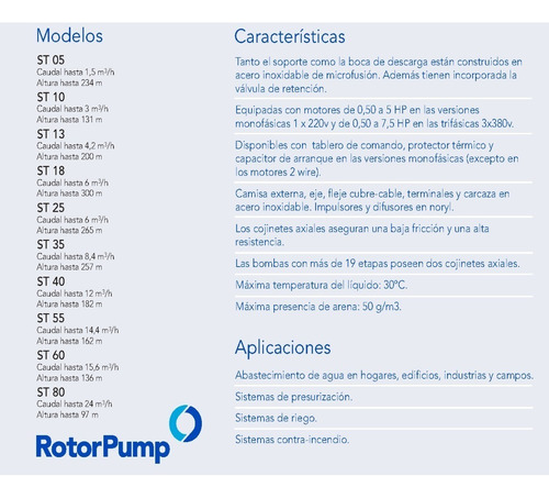 bomba sumergible franklin rotor pump 3hp trif. st6010