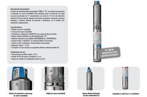 bomba sumergible motorarg 1,5hp trifásica 416