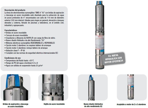 bomba sumergible motorarg 1hp trifásica 416