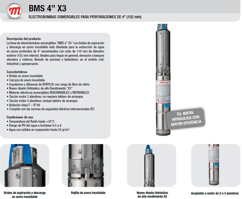 bomba sumergible motorarg 2hp trifásica 407