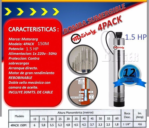 bomba sumergible motorarg pozo 4pack 150m 1.5hp + 30mt cable