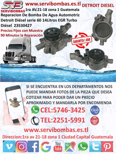 bombas de agua automotrices detroit diesel 8.2 guatemala