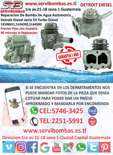 bombas de agua automotrices detroit diesel series 60 14l