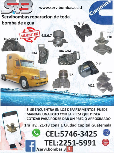 bombas de agua automotrices foton cummins 2.8,3.8 guatemala