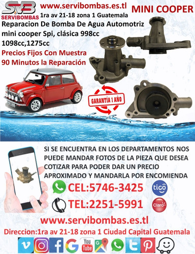 bombas de agua automotrices mini cooper spi 998cc,1098cc