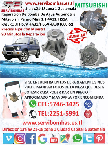 bombas de agua automotrices mitsubishi l200 4d56 turbo g