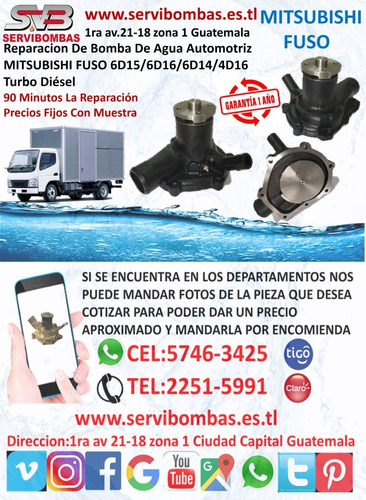 bombas de agua automotrices mitsubishi montero,4m40 2.8,3.2