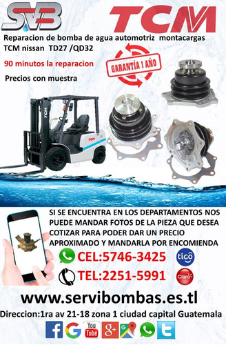 bombas de agua automotrices montacargas toyota 4y, 2.2 7f,8f