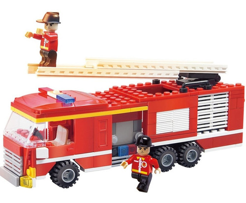 bomberos con camion cogo fire fighter 219 bloques