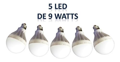 bombillo led 9 wats combo 5 unidades- hasta 80% luz blanca