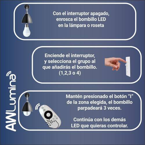 bombillo led 9 watts y control remoto awlumina - iluminación