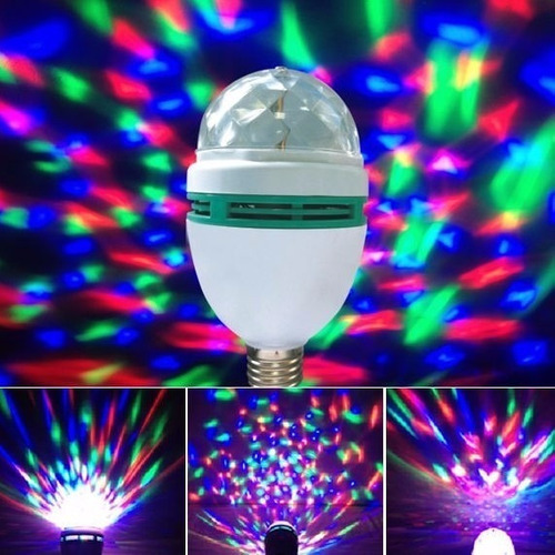 bombillo led giratorio multicolor fiestas eventos discoteca