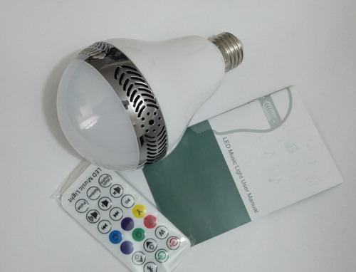 bombillo led parlante bluetooth multicolor control remoto