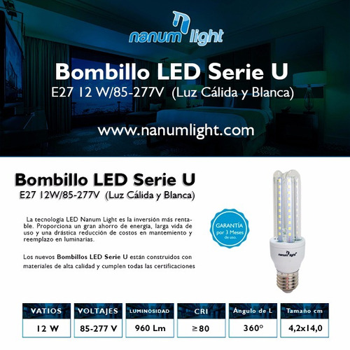 bombillo led serie 3u e-27 12w (85-277v) 3000k / 6500k