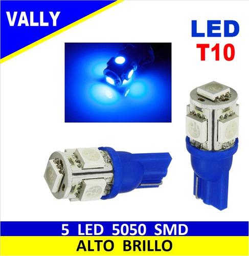 bombillo muelita led t10 158 luz azul 5 smd auto moto par