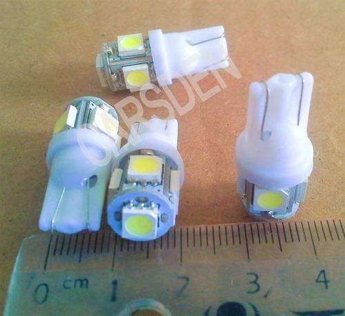 bombillo muelita led t10 luz blanca 5 alto brillo 12v par