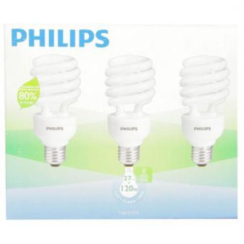 bombillo philips espiral 27w x 3 unidades - luz blanca